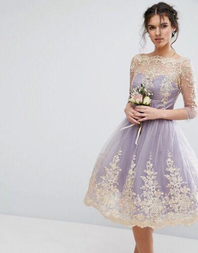 Londen Midi Tulle jurk Uk10 Prom Lilac partij Chi barok Us6 Eur38 stijl lTK5u3F1Jc