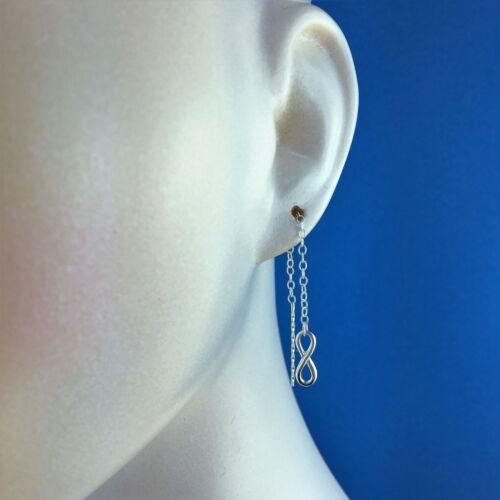 925 Sterling Silver Infinity Love /& Eternity Forever Pull Through Earrings