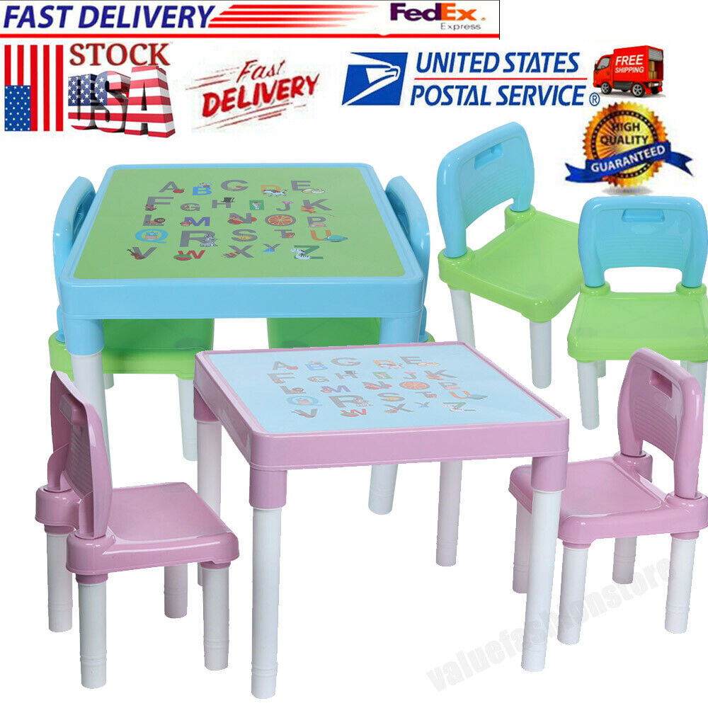 Plastic Kids Table And 2 Chairs Set Boys/Girls Toddler Study