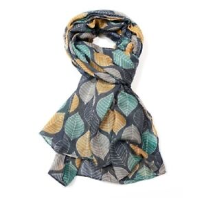 Blue-Grey-Mustard-Pink-Large-Leaf-Print-Leaves-Gray-Pattern-Scarf-Wrap-LilyRosa