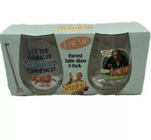 Seinfeld Frank Costanza Festivus Wine Glasses Set Of 2 Curved Table Glass NEW!