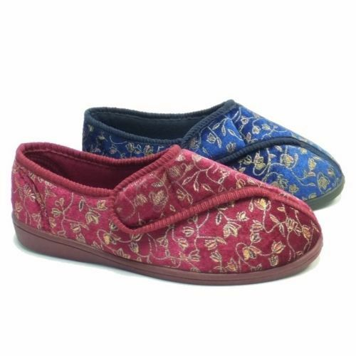 LADIES WIDE FIT ORTHOPEDIC WASHABLE STRAP SLIPPERS SHOES,WINE OR NAVY SIZE 3-8