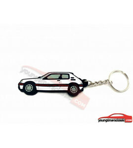 Porte-cle-Peugeot-205-GTI-en-pvc-souple-BLANC