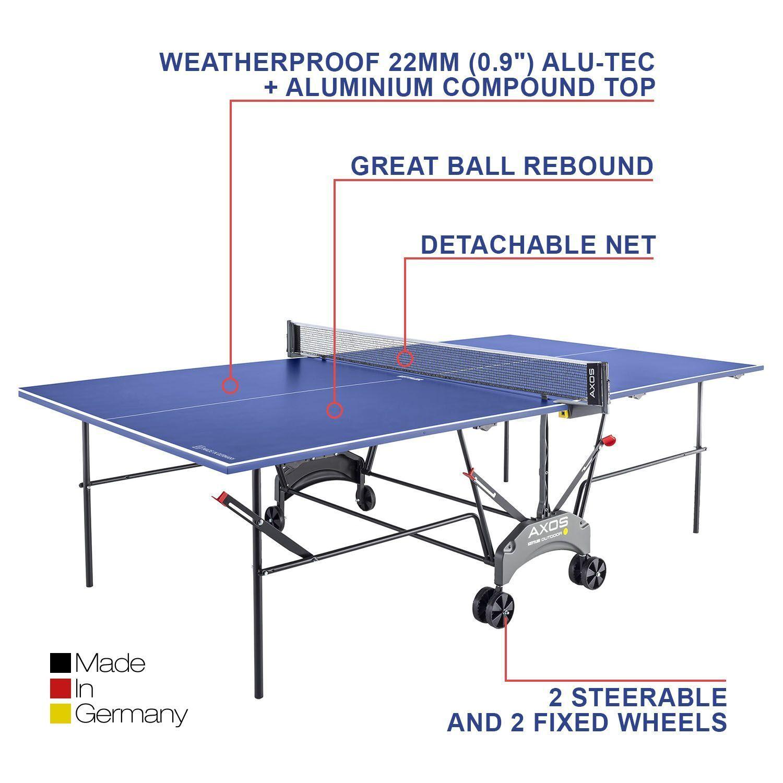 78832e6b8 Kettler Axos 1 Outdoor Folding Weatherproof Tennis Ping Pong Table