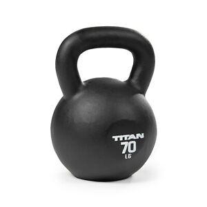 Titan Fitness 70 LB Cast Iron Kettlebell, Single Piece Casting