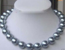 """10mm AAA Silver Gray South Sea Shell Pearl Necklace 18"""" as SA SQW"""