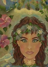 FAIRY PRINCESS QUEEN DOVE SNOWFLAKES COTTAGE ANGEL SNOW WINTER GARDEN PAINTING