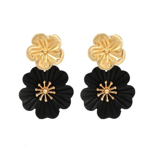 Fashion Femmes Or Fleur Géométrique oreille Boucle d/'oreille à Clous Pour Fête De Mariage Bijoux