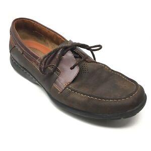Men-039-s-Clarks-Un-Cape-Boat-Shoes-Sneakers-Size-9M-Brown-Leather-Casual-Moc-Z10