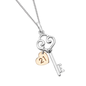 Genuine sterling silver 21st birthday key necklace with rose gold image is loading genuine sterling silver 21st birthday key necklace with mozeypictures Choice Image