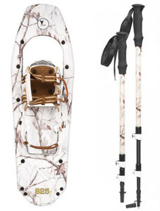 Yukon-Charlie-039-s-REALTREE-Xtra-Molded-Snowshoes-up-to-200lbs-Snow-Camo-w-poles