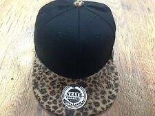Black leopard snapback caps, baseball flat peak trucker fitted hats, unisex