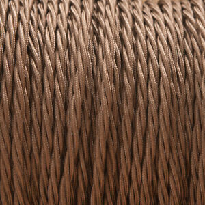 Brown Twisted Braided Fabric Cable 3-Core 0.5mm for lighting