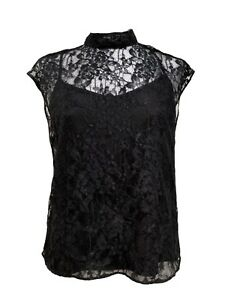 NEW-ALICE-OLIVIA-BLACK-LACE-TOP-WITH-SLIP-S-325