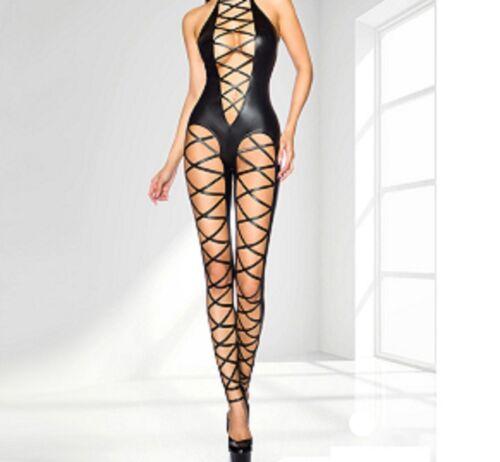 Latex synthétique Look Noir Catsuit Jumpsuit Cut Away Shoulder CRISS CROSS DESIGN