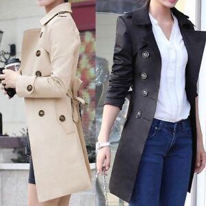 Women-Slim-Windbreaker-Double-Breasted-Long-Trench-Coat-Jacket-Overcoat-Plus-UK