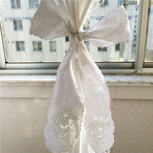 Elegant Rose Embroidery Hemstitch Cutwork Cotton White Curtain Tieback Band Bow