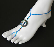 Barefoot Sandals (Pair) Sim. Abalone Disks, Dyed Hematite & Glass Seed beads