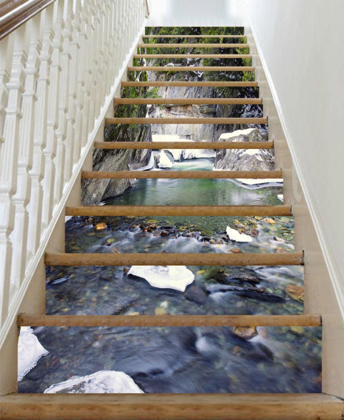 3D Schnee Fluss 208 Stair Risers Dekoration Fototapete Vinyl Aufkleber Tapete DE