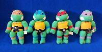 """Vintage Teenage Mutant Ninja Turtles Plush Lot / Set of Four 7 3/4"""" tall 1989"""