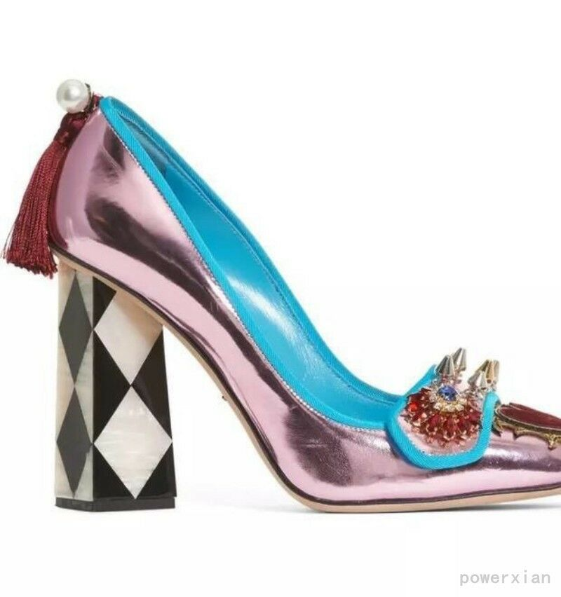 Hot Runway Womens Pumps Pearl Tassels Rivet Block High Heels Party Casual shoes