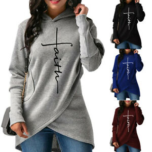 Details about Womens Tops Long Sleeve Hooded Asymmetric Hem Lady Hoodie Sweatshirt Jumper Top