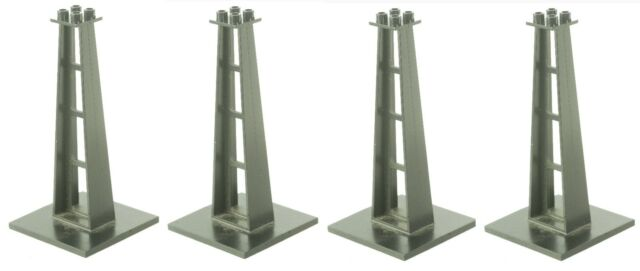 4 x Black Support Stanchion Lego Train 2681 Monorail 6 x 6 x 10 Studs