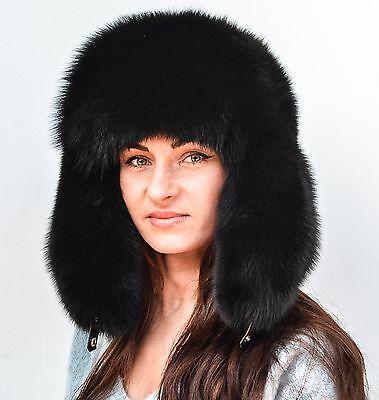 NEW WOMEN BURGUNDY FOX FUR HAT AVIATOR STYLE BLACK LEATHER ALL SIZES