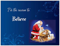 Christmas Religious Santa Believe Greeting Postcards Or Flat Cards Env & Seals