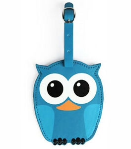 New-LUGGAGE-TAG-Travel-Bag-ID-Pouch-Cover-Case-OWL-BIRD-Vegan-Leather-BLUE