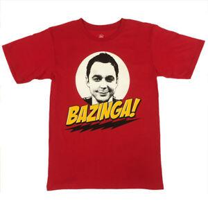 The-Big-Bang-Theory-BAZINGA-Sheldon-Cooper-T-Shirt-UNISEX-RED-Licensed