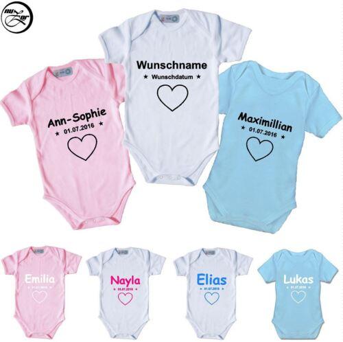 Spruch,Motiv,Geburt,Geschenk,Druck,Liebe Baby Body mit Wunschname /& Wunschdatum