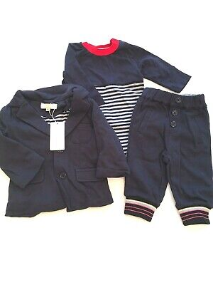 GUESS 100/% COTTON 3 pc Navy Bodysuits and Pant Set BOY SIZE 3//6M NWT