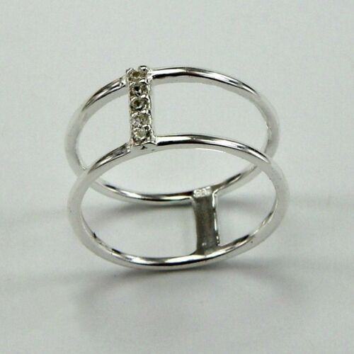 925 Sterling Silver Midi Ring Size E Double Cubic Zirconia Stacking inc Gift Bag