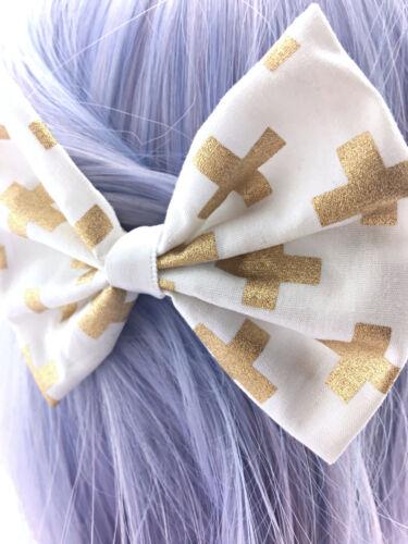 White with Metallic Gold Cross Print Fabric Medium Hair Bow Foil Geometric Clip