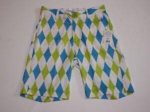 Golf-Shorts-Size-32-Light-Royal-Argyle-Flow-Golf