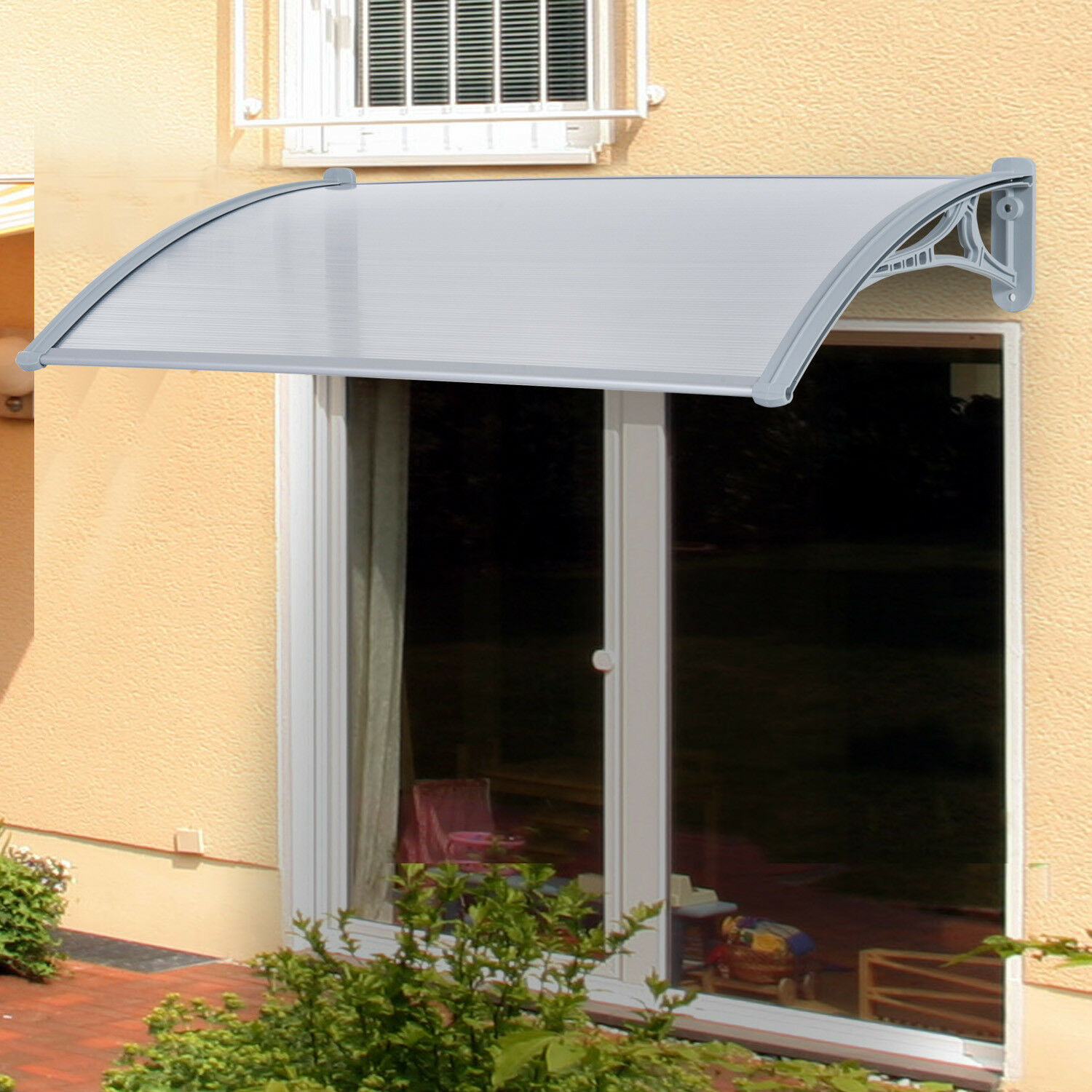 Outsunny B70 040 140cm X 70cm Door Awning Cover Bracket Canopy Patio Porch Window Transparent Silver For Sale Online Ebay