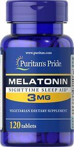 Puritan's Pride 3mg 3x 120 Tabletten Jet Lag Schlaf gut Entspannung