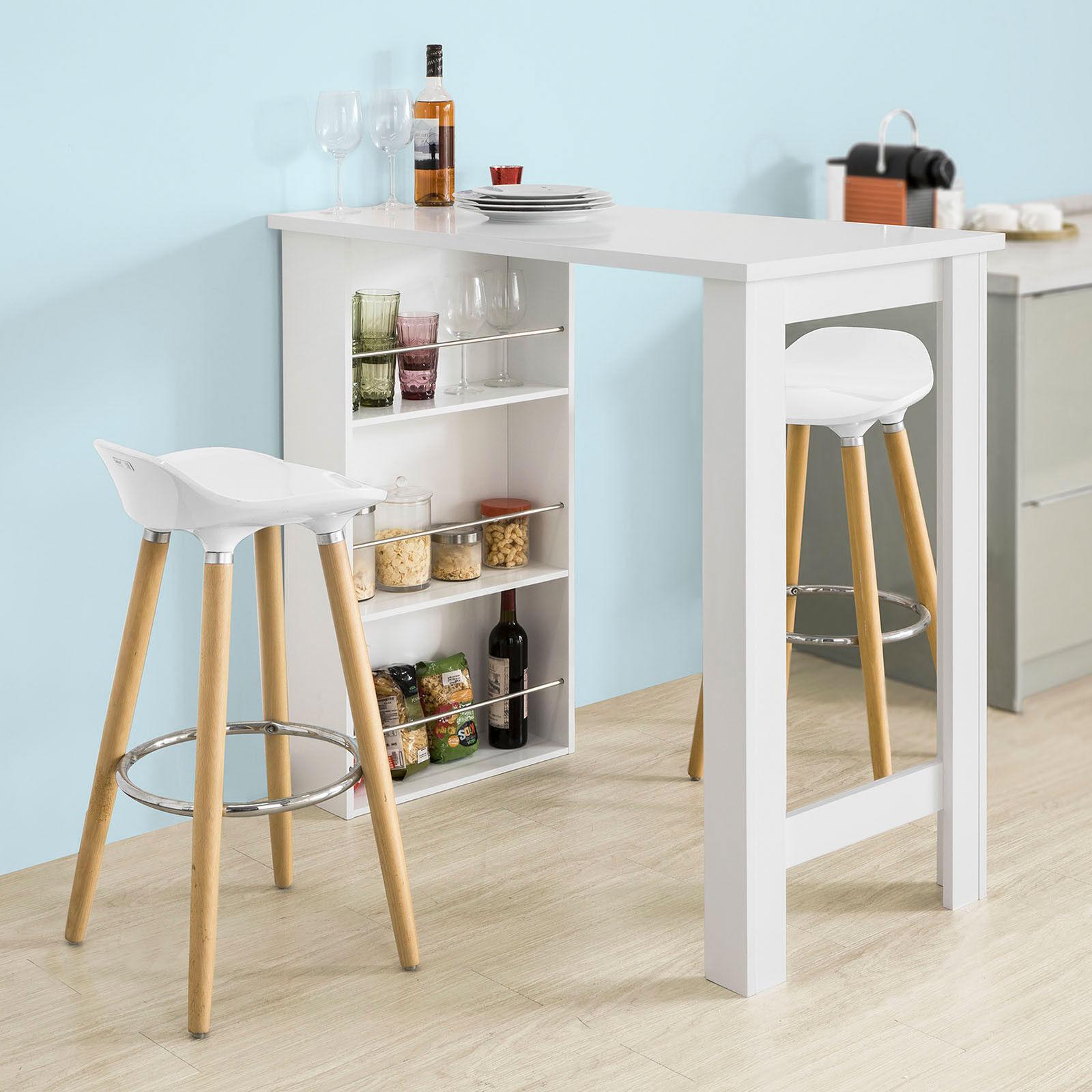 Table Haute Avec Rangement sobuy fwt17-w 106x57x112cm table haute de bar - blanche