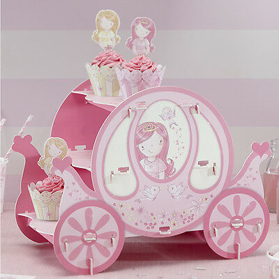 PRINCESS PARTY PINK CARRIAGE CUPCAKE CAKE STAND