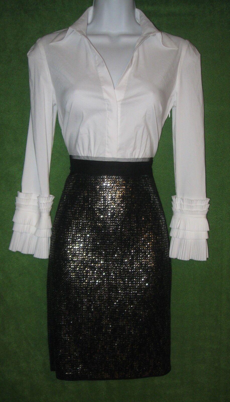 Vestido  de fiesta BCBG Maxazria blancoo Algodón Elástico social Lentejuelas Negro 0  el precio más bajo
