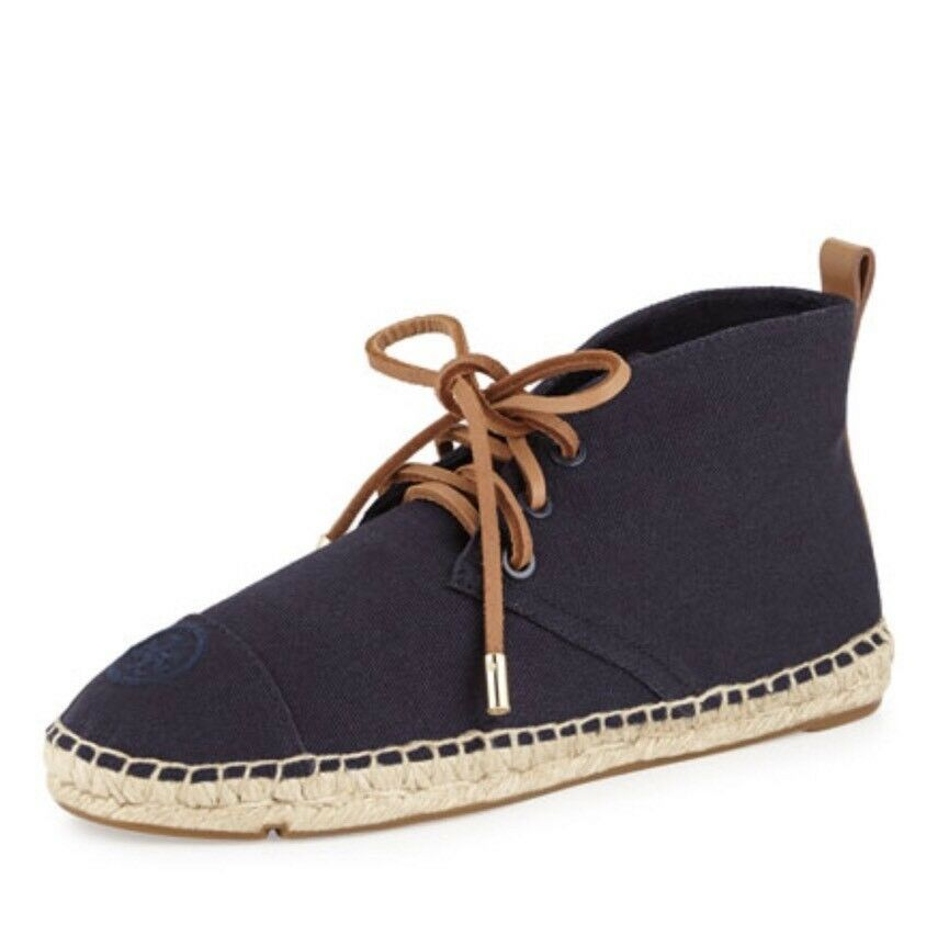 Tory Burch Navy Canvas Espadrille Lace Up Ankle démarrageie Flats New In Box Taille 7