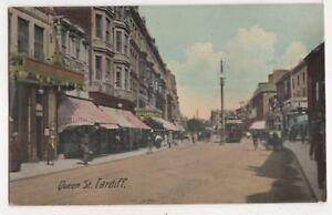 Queen-Street-Cardiff-Vintage-Postcard-Glamorgan-South-Wales-750b