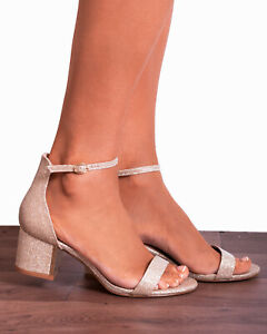 classic fit run shoes buy best Details about Champagne Gold Glitter Ankle Strap Low Heeled Heels Peep Toes  Strappy Sandals Sz