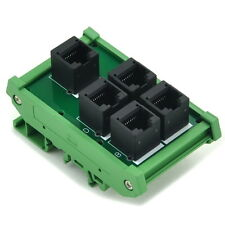 RJ45 8P8C 5 Jacks Splitter DIN Rail Mounted Interface Module.