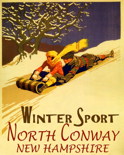 POSTER WINTER SPORT NORTH CONWAY SLEDDING SNOWY HILL SLED VINTAGE REPRO FREE S//H