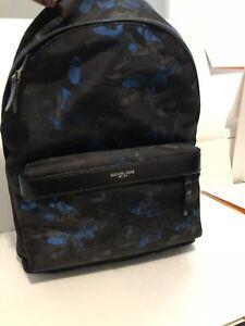 d60416ef7699 MICHAEL KORS KENT Men's Nylon Shoulder Book Bag BACKPACK Black Blue ...