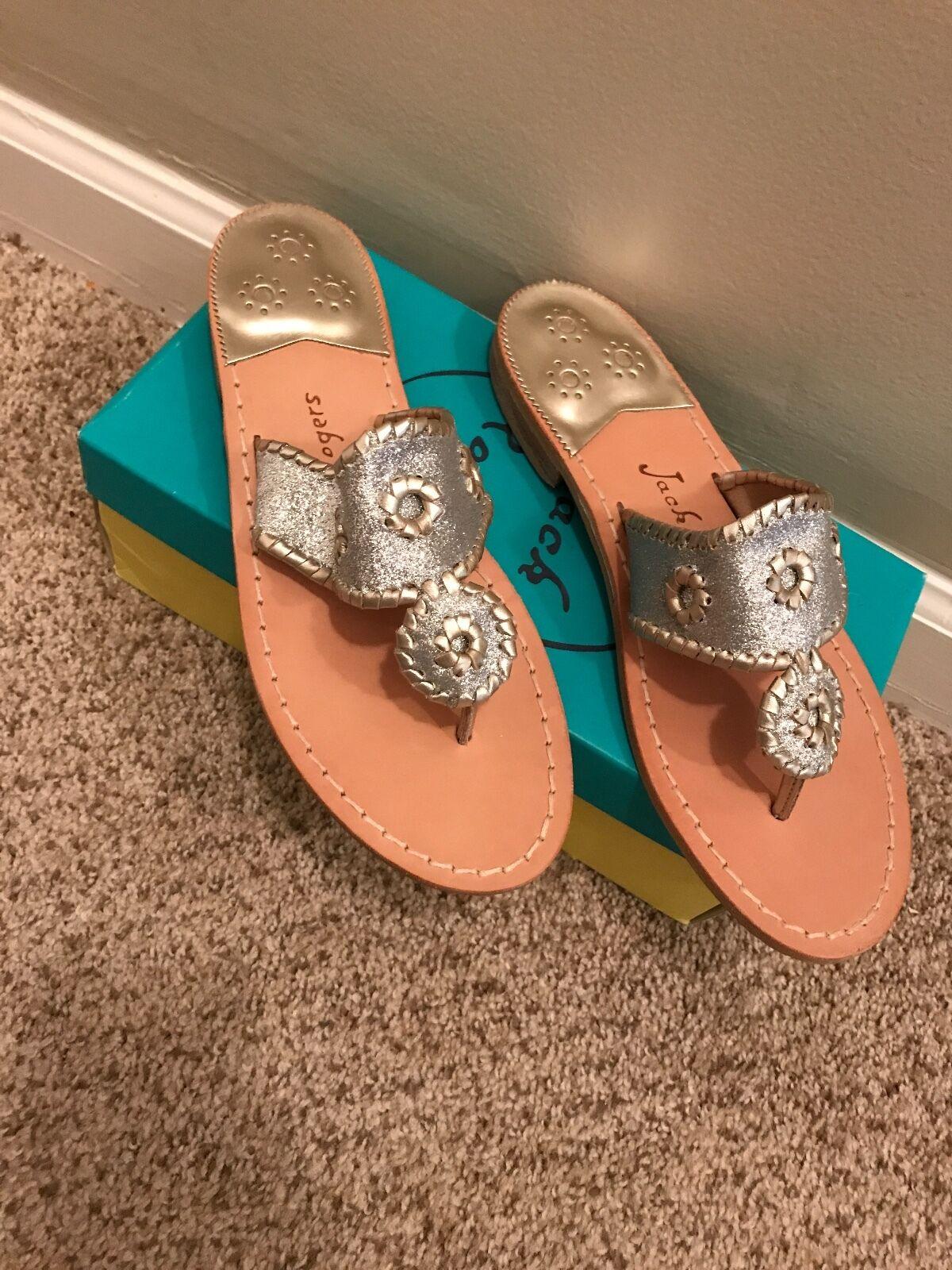 Silver Platinum Jack Rodger Sparkle Sandals 9.5M