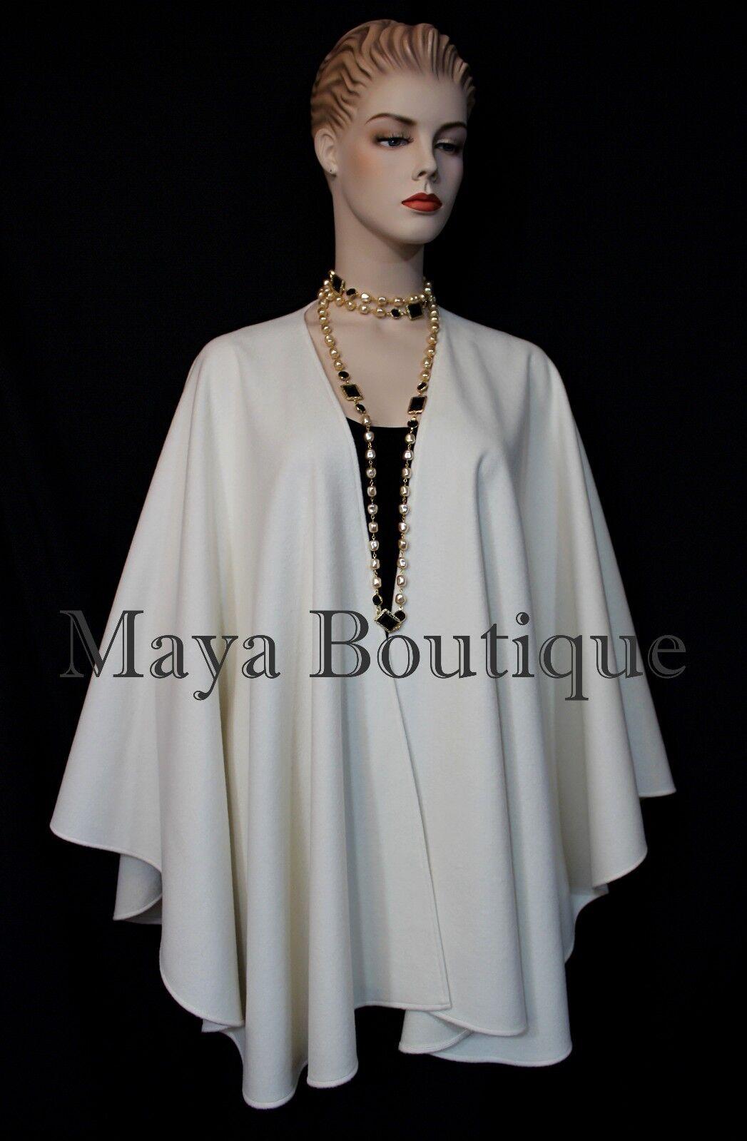 Maya Matazaro Ivory Cashmere Cape Ruana Wrap Coat Coat Coat Made in USA 910a5f