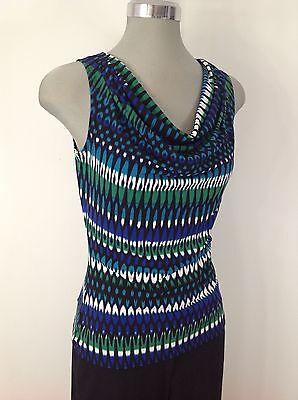 Vicky Tiel NEW Atlantis multi shawl collar geometrical print sleeveless top